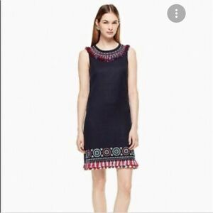 Kate Spade Embroidered Tassel Dress in Navy